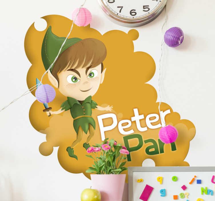"""TenStickers. Naklejka dekoracyjna Piotruś Pan. Naklejka przedstawiająca klasyczną postać Piotrusia Pana z nożem w prawej ręce. Naklejka zawiera napis po angielsku """"Peter Pan""""."""