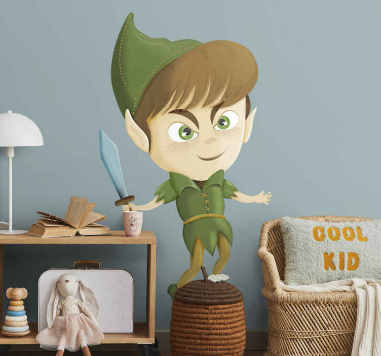 TenStickers. Peter Pan Kids Sticker. From a classic fairy tales, a Peter Pan illustration. A children's decal from our collection of Peter Pan wall stickers.