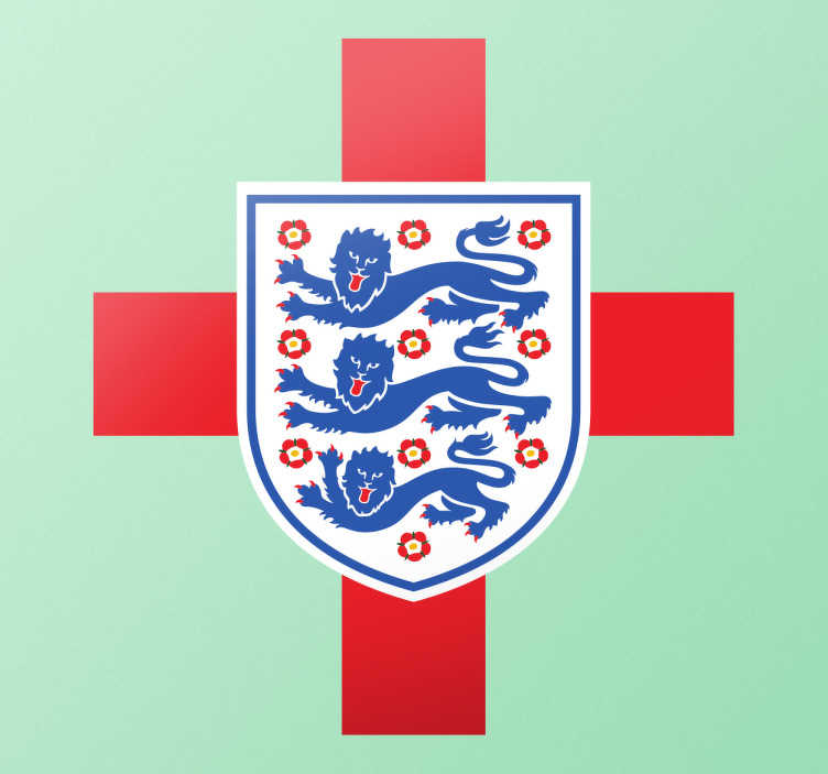 TenStickers. St George Flag And England Badge Sticker. Football wall sticker. This sticker consists of both the England badge and St George's flag in the background.