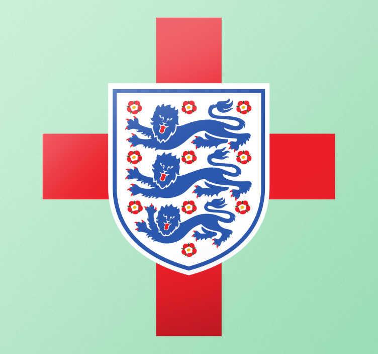 TenStickers. Sticker drapeau et logo anglais. Sticker mural de football. Obtenez un drapeau derrière l'équipe de football d'Angleterre avec cet autocollant de mur.