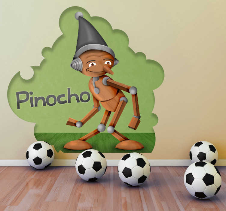 TenVinilo. Vinilo infantil Pinocho con texto. Ilustración de Pinocho con un gorro de color gris en la cabeza. Uno de los vinilos infantiles de la colección cuentos clásicos.