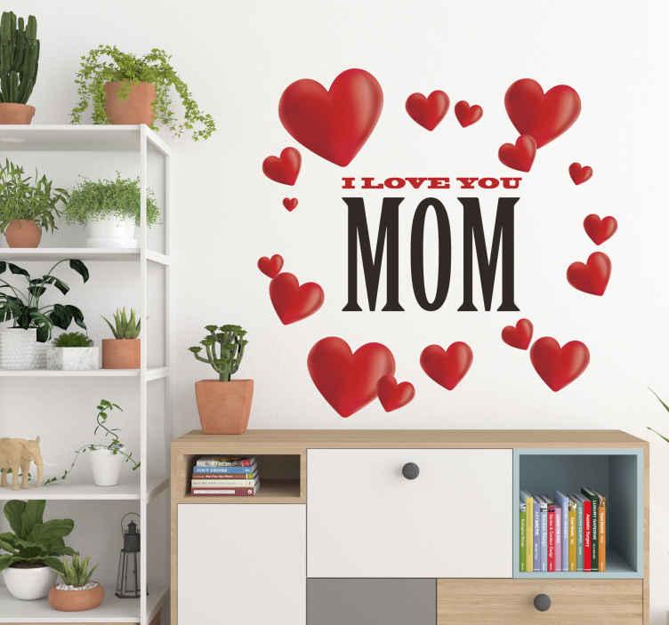 """TenStickers. Wandtattoo I love you Mom. Dieses Wandtattoo zum Muttertag zeigt viele kleine Herzchen die um den Text """"I love you MOM"""" angeordnet sind."""