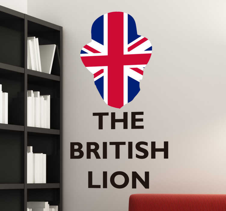 "TenStickers. The British Lion Wall Sticker. British Wall Sticker. The sticker consists of the message ""The British Lion"" with the Union Jack flag cut out in the shape of a lions head."