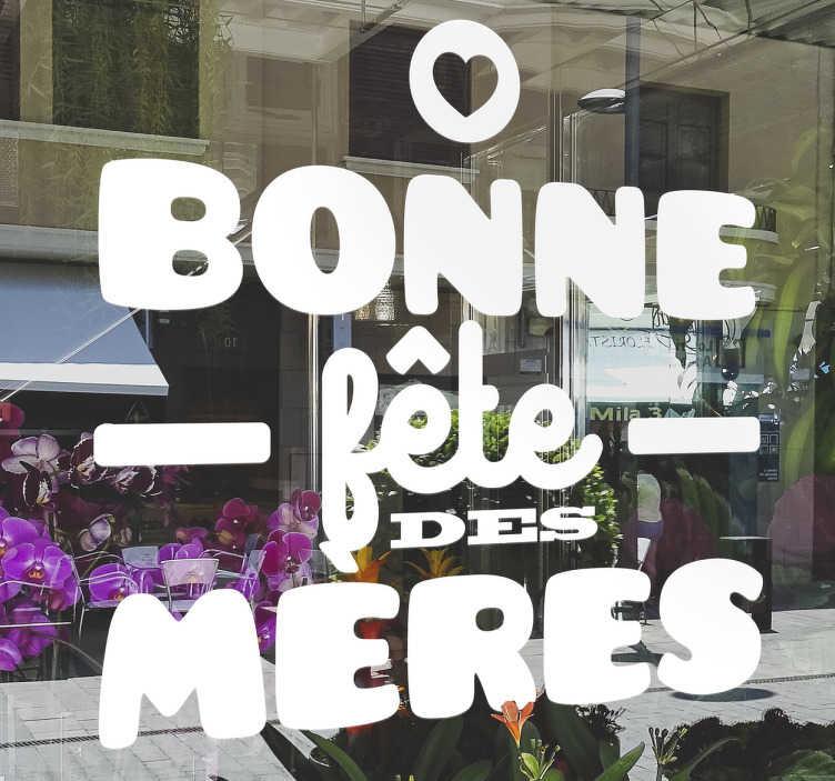 TenStickers. sticker entreprise bonne fête des mères. Sticker texte fête des mères écrit en différentes polices idéal pour décorer la vitrine de votre magasin de manière originale et distinguée.