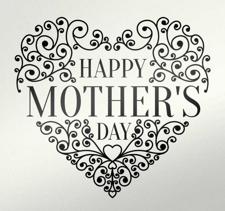 """TenStickers. Adesivo decorativo Mother's Day Cuore. Adesivo decorativo con l'illustrazione ricca di dettagli di un cuore che contiene la scritta """"Happy mother's day"""" (felice festa della mamma)."""