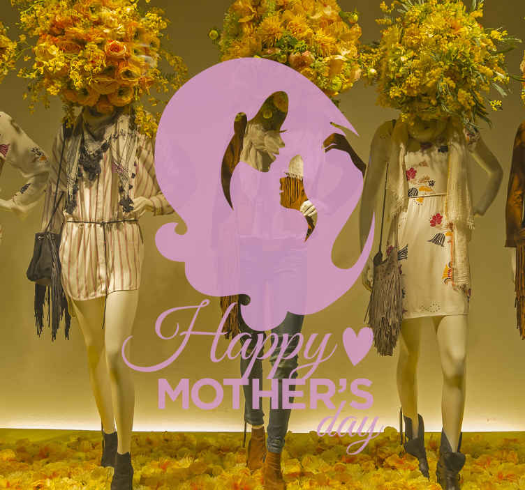 TenStickers. Wandtattoo Haarpracht Happy Mother's Day. Dieses Wandtattoo zeigt die stilisierten Gesichter einer Mutter und ihrer Tochter. Beide haben eine eindrucksvolle Haarpracht.