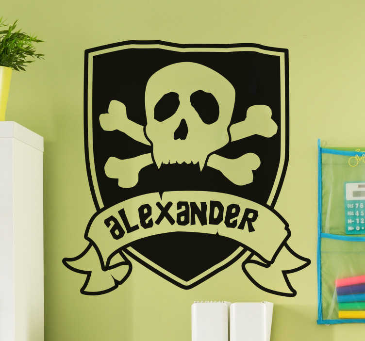 TenStickers. Customisable Pirate Flag Name Sticker. This customisable sticker features a a pirate flag complete with skull and crossbones with a banner reading the name of your choice.