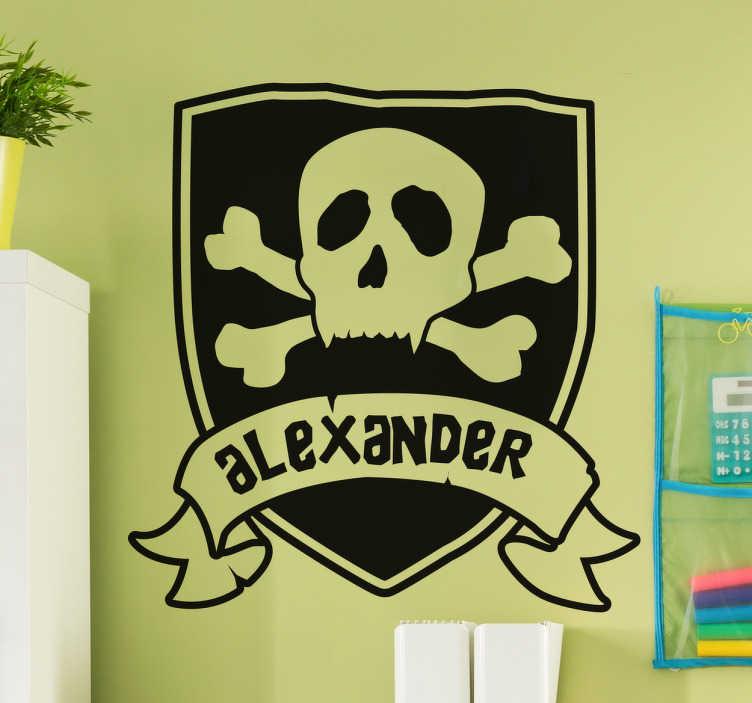 TenStickers. Sticker Personaliseerbare naam Piraten vlag. Muursticker met een Personaliseerbare naam op een stoere piraten vlag, leuk voor alle piraten, jong en oud.
