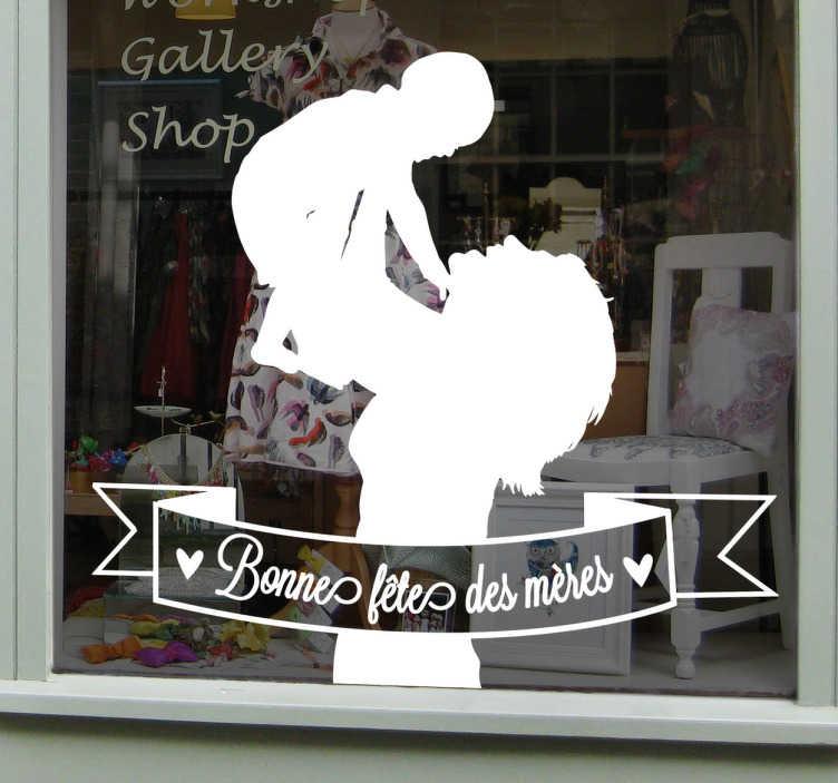 TenStickers. Sticker fête des mères dessin. Décorez la vitrine de votre commerce de manière originale et distinguée pendant la fête des mères avec ce sticker d'une femme portant son enfant.