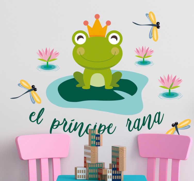 TenVinilo. Vinilo infantil príncipe rana texto. Ilustración de el Príncipe Rana con las manos y los pies dentro de un charco. Uno de los vinilos infantiles de la colección cuentos clásicos.