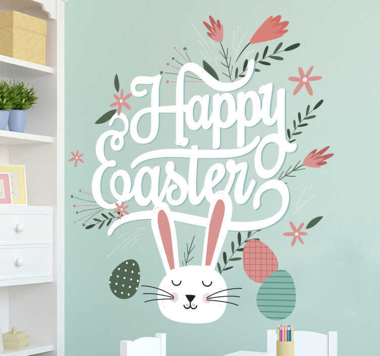 "TenStickers. Happy Easter Wall Sticker. Happy Easter wall sticker. The wall decoration consists of a bunny rabbit, Easter eggs and flowers around the message ""Happy Easter!"""