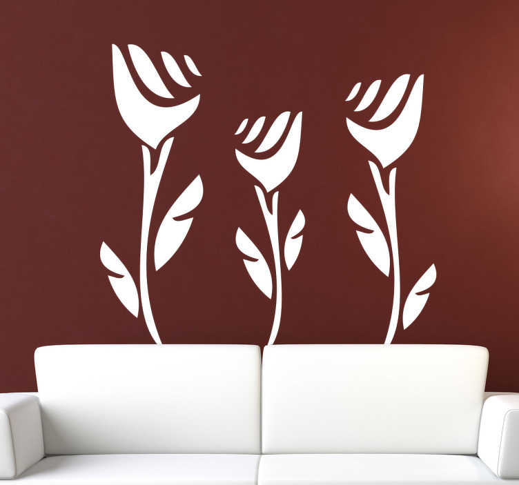 TenStickers. Three Roses Wall Sticker. Floral Wall Stickers - Decorate your home with this magnificent rose design. Choose what colour you want for your rose decal.