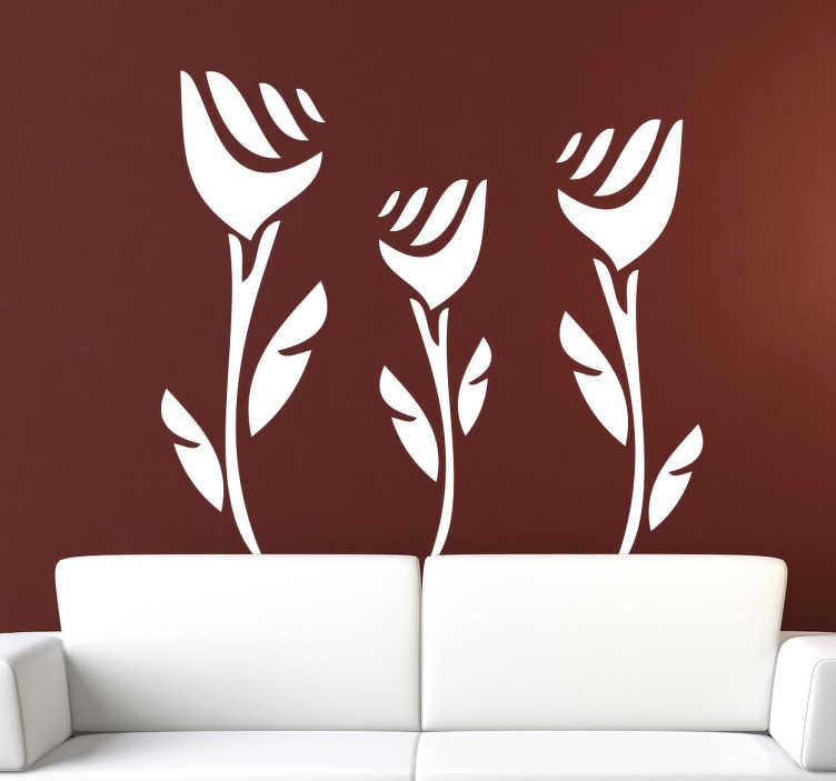 Sticker decoratie drie rozen