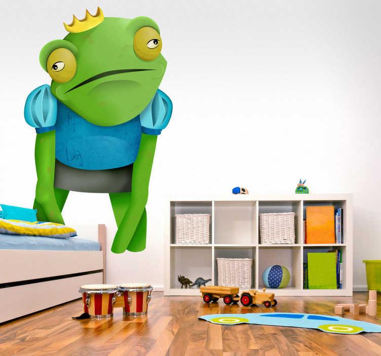 TenStickers. Naklejka dziecięca żabi król. Naklejka przedstawiająca rysunek Żabiego Króla, z koroną na głowie. Postać z klasycznej bajki dla dzieci.