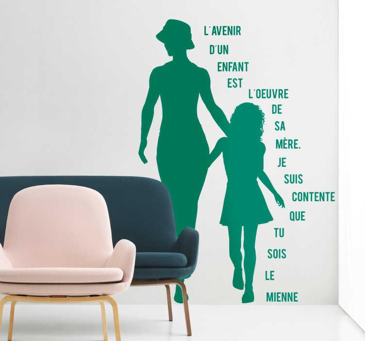 TenStickers. Sticker fête des mères texte silhouettes. Montrez votre amour et fierté envers votre mère de façon originale avec ce sticker de la silhouette d'une mère et d'une fille accompagnée d'un texte.