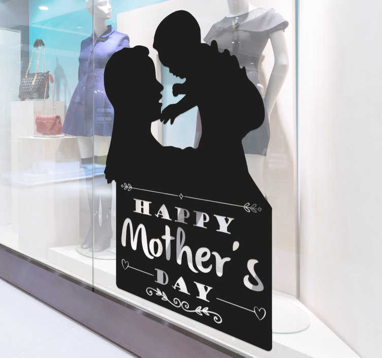 TenStickers. Happy Mother's Day Sticker. Sticker with a silhouette of a mother and a child below the text Happy Mother's Day. A beautiful and original gift for Mother's Day.