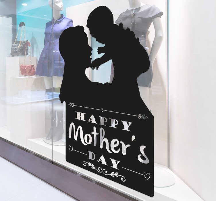 """TenStickers. Adesivo Silhouette Mother's day. Vetrofania con una splendida illustrazione della silhouette di una mamma che gioca con il proprio bimbo e la frase """"happy mother's day""""."""