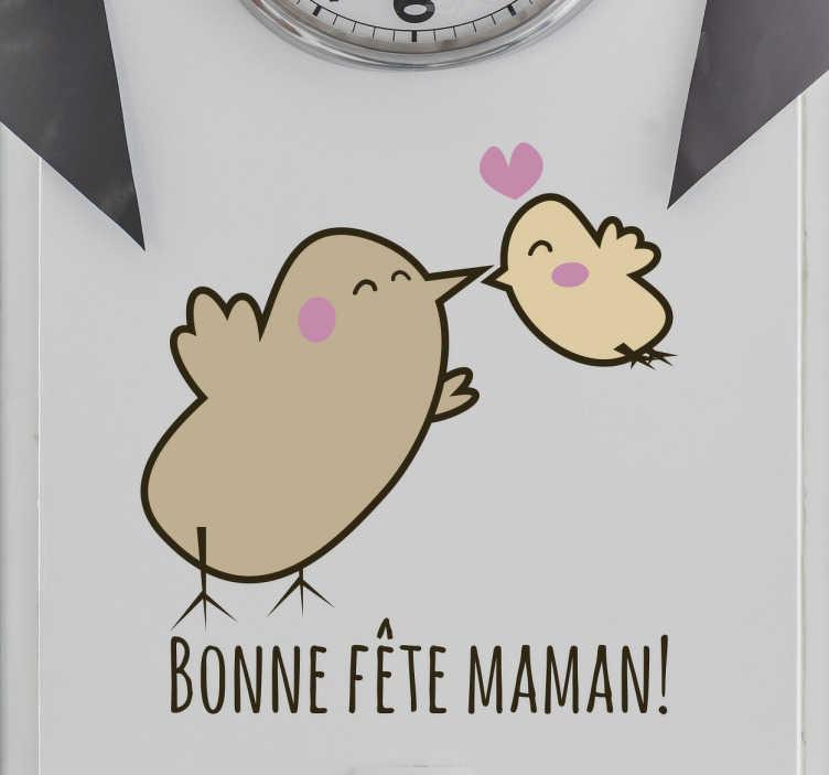 TenStickers. Sticker dessin oiseaux famille fête des mères. Faites un super cadeau à votre mère pour la fête des mères avec ce sticker original d'un oiseau mère et son fils faisant un bisous rempli d'amour.