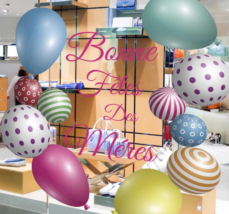 TenStickers. Sticker texte Bonne fête des mères ballons. Sticker texte 'Bonne fête des mères' entouré de ballons de toutes les couleurs et de designs différents.