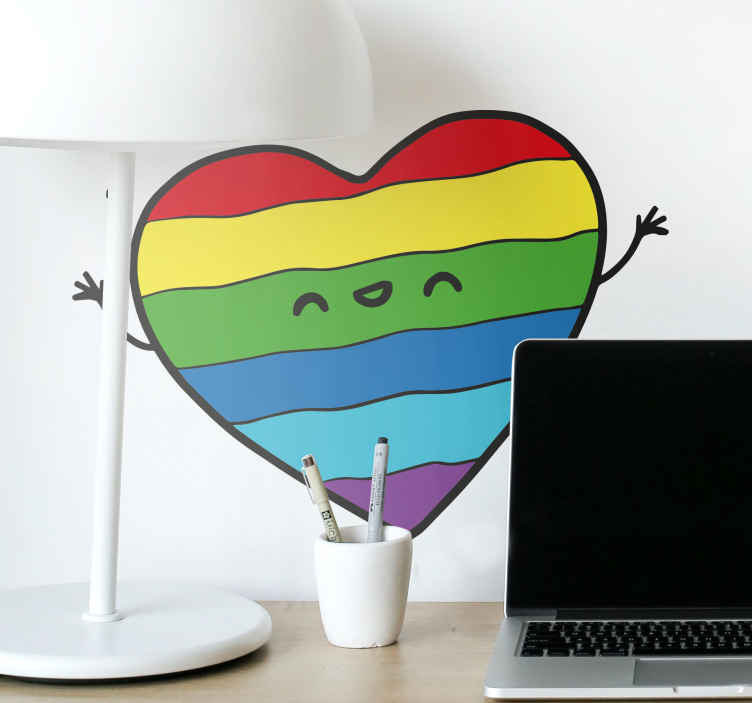 TenStickers. Aufkleber Herz Pride Flag. Dieser Aufkleber zeigt ein Herz mit kleinen Armen und einem Gesicht. Das Herz ist in den Farben der Pride Flag gefüllt.