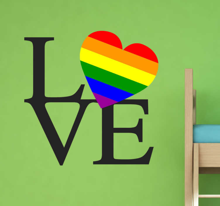 """TenVinilo. Adhesivo love gandera orgullo gay. Vinilo amor original que muestra el texto inglés """"Love"""" o """"Amor"""" en castellano junto a un corazón con la bandera del orgullo gay."""