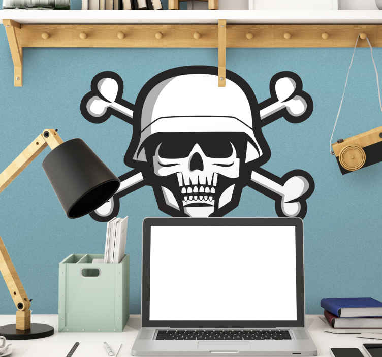 TenStickers. Skull Military Sticker. Wall Sticker of a skull soldier. A unique wall decoration that will convert any blank space in your home to a room full of character.