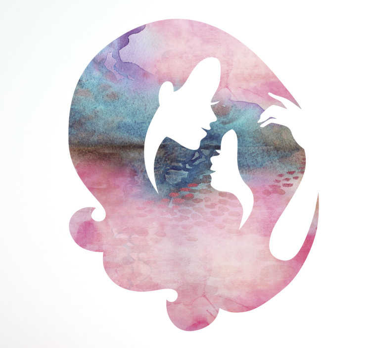 TenStickers. Silhouette Mother/Daughter Wall Sticker. Silhouette Sticker of a Mother and Daughter surrounded by Watercolour. A beautiful decoration for the walls of a house