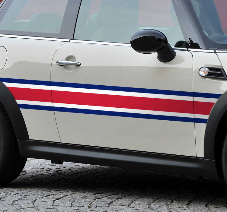 TenStickers. Great Britain Car Racing Stripe Sticker. Colours of Great Britain car sticker - Car stripe sticker that features the colours of Great Britain is the perfect way to add style your car.