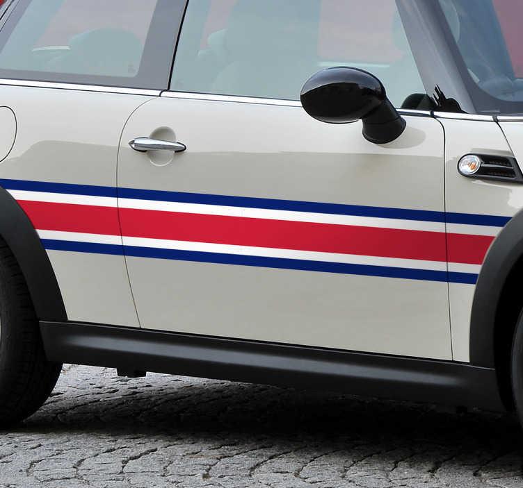 TenStickers. Adesivo per auto Striscia UK. Adesivo decorativo per auto con una striscia caratterizzata dai colori della bandiera inglese, blu, bianco e rosso.