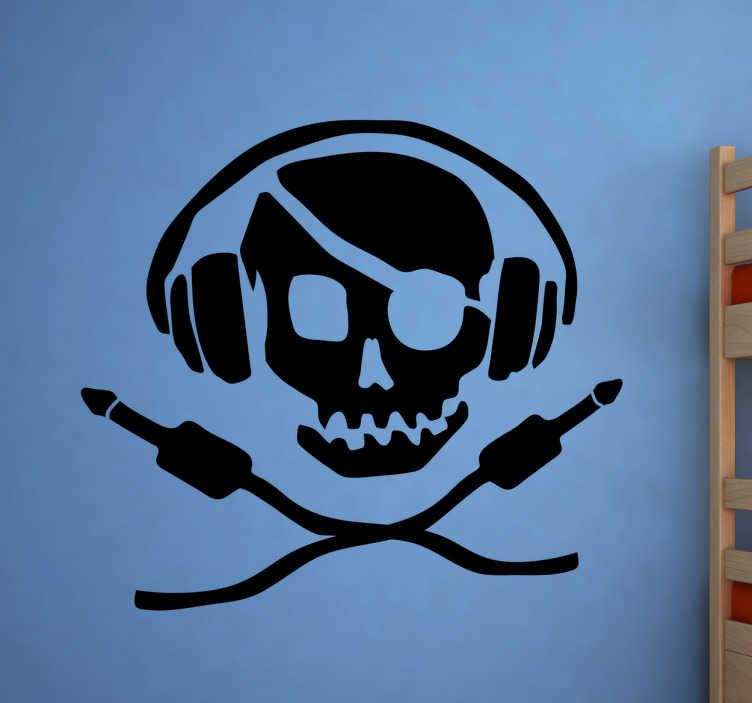 TenStickers. Muursticker piraten DJ. Decoreer uw woning met deze muursticker waar een grappige piraten DJ op is afgebeeld. Kleur en formaat aanpasbaar. 10% korting bij inschrijving.