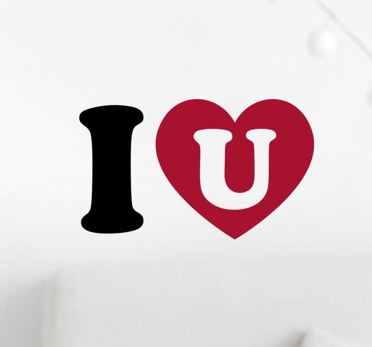 TenStickers. I heart U Wall Sticker. I love you wall sticker. Let that special someone know how you feel with this romantic wall sticker.