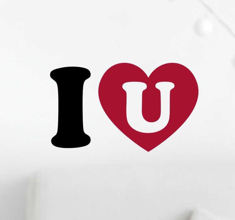 """TenVinilo. Pegatina I heart u. Vinilo texto que muestra la palabra inglesa """"I"""", un corazón y """"u"""", que traduce como """"I love you"""", o en castellano """"te quiero"""" con un corazón."""