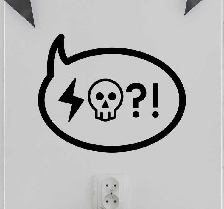 TenStickers. Adesivo murale Nuvoletta Insulto. Adesivo decorativo con l'illustrazione di una nuvoletta di dialogo che contiene un fulmine e un teschio con un punto interrogativo e uno esclamativo.