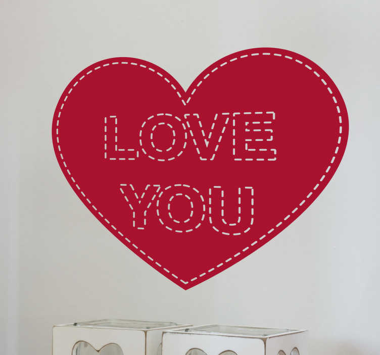 Pegatina love you costura