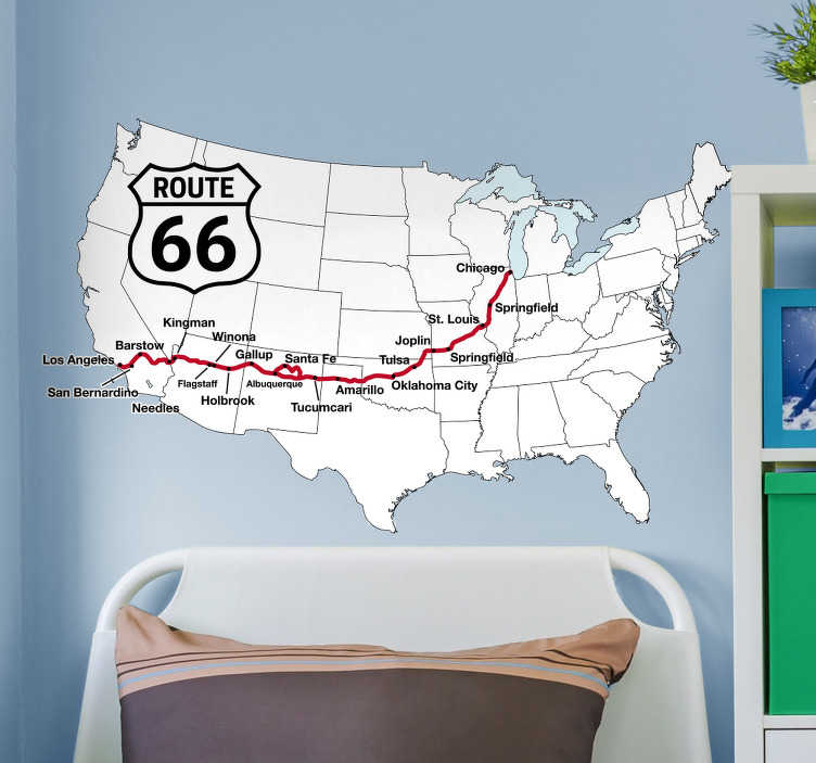TenStickers. Route 66 united states map wall decor. Come take a look at this gorgeous adventure sticker that has the famous route 66 on it. The product is very easy to apply.