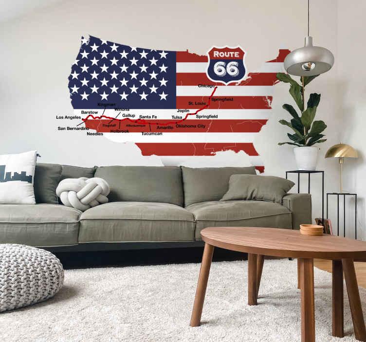 TenStickers. Adesivo decorativo Mappa Route 66. Adesivo decorativo con una mappa degli USA che riporta in rosso il percorso della mitica Route 66 e le maggiori città che attraversa.