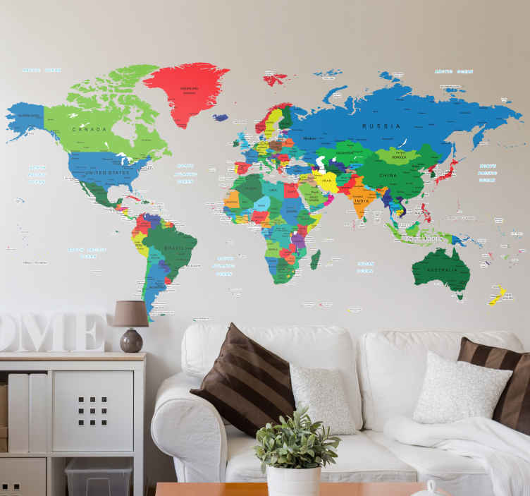 TenVinilo. Vinilo mapa del mundo a todo color. Vinilos murales disponibles en gran variedad de medidas y acabado mate, con cada país coloreado de manera distinta junto al nombre que le pertenece.