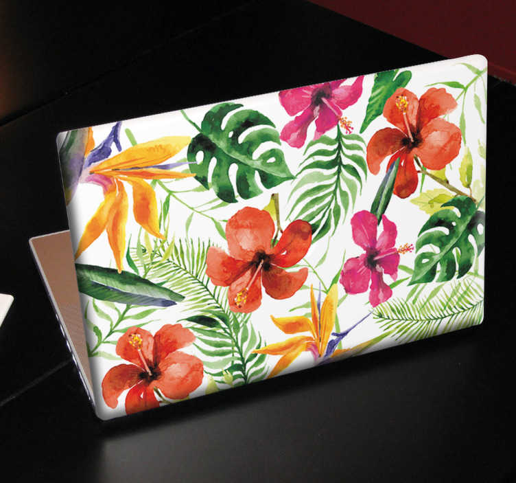 TenStickers. 꽃 무늬 노트북 스티커. 아름 다운, 화려한 꽃과 식물 꽃 노트북 데칼. 이 꽃 무늬 디자인으로 노트북에 장식을 추가하십시오.