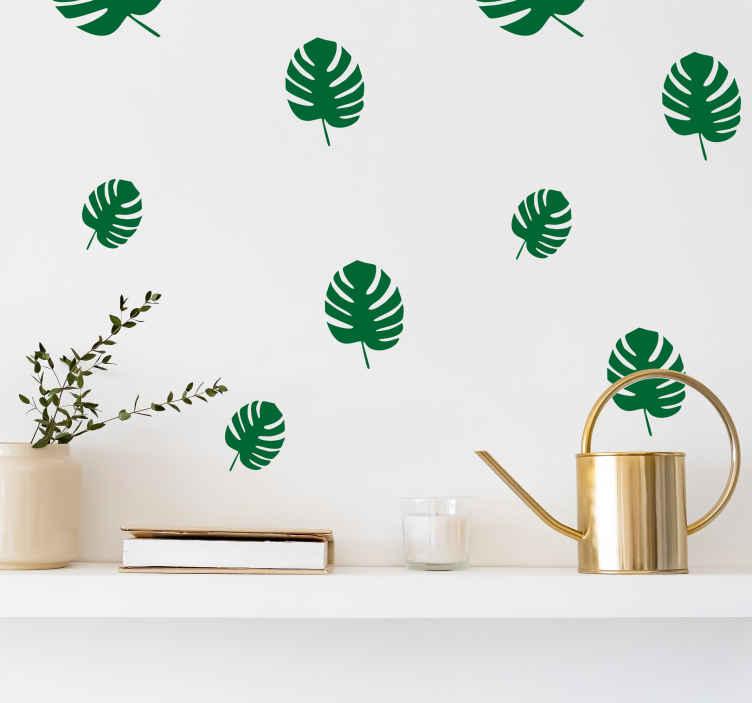 TenStickers. Naklejki Liście Monstery. Zestaw naklejek przedstawiające liście monstery. Roślinny wzór, ideany do ozdoby biura, salonu czy sypialni.