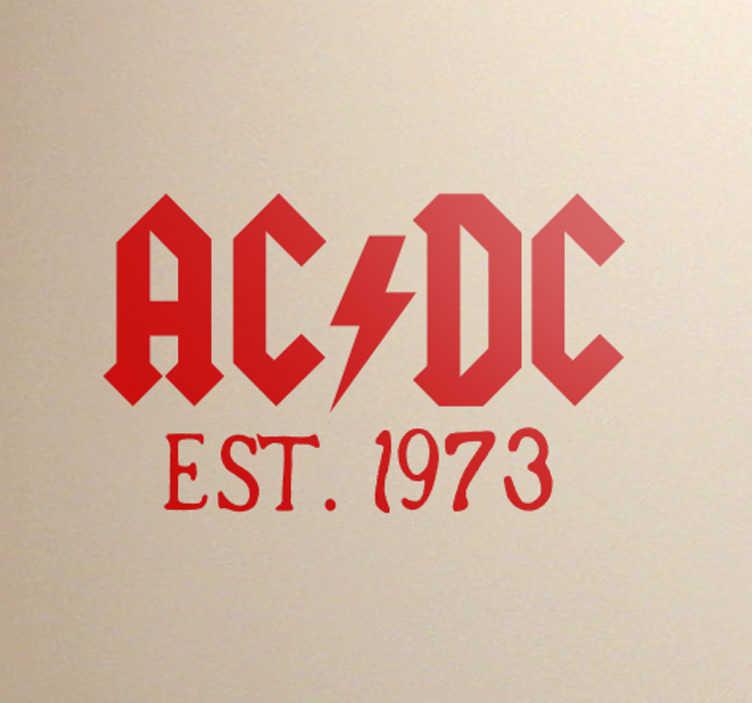 """TenVinilo. Vinilo ACDC established in 1973. Pegatinas ACDC con logotipo de este grupo autor de hits como """"Highway to hell"""" o """"Thunderstruck"""" acompañado del año de su fundación."""