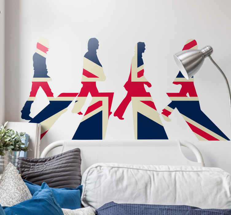 TenStickers. Beatles Union Jack Wall Sticker. Wall Sticker with the silhouettes of the Beatles from the famous cover of their album Abbey Road, but in the colours of the Union Jack.