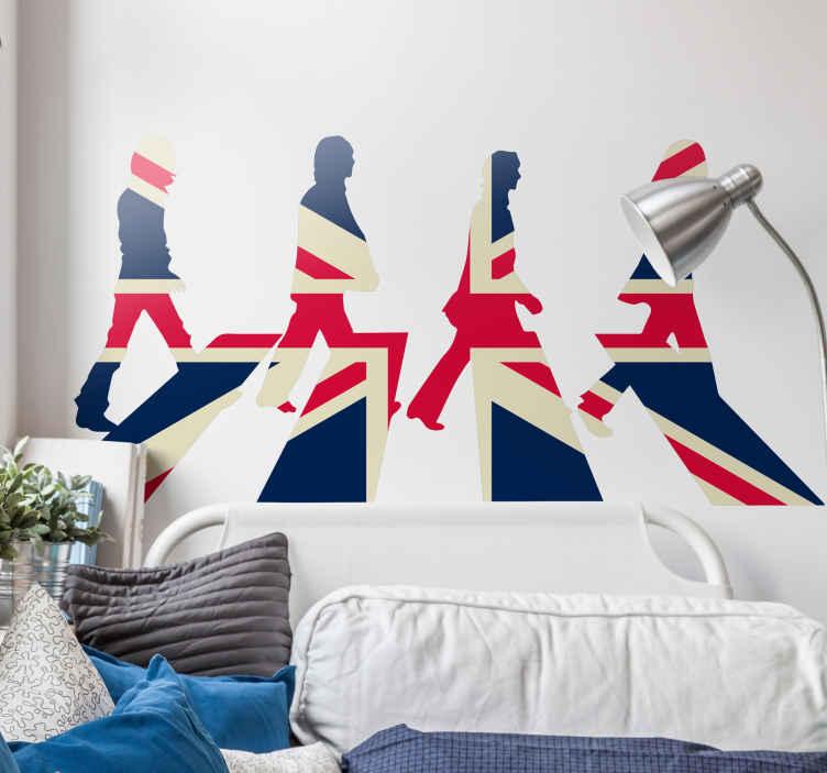 TenVinilo. Vinilo bandera de Inglaterra Beatles. Pegatinas Inglaterra con una representación de la Union Jack y el perfil de John Lennon, Paul McCartney, George Harrison y Ringo Starr.