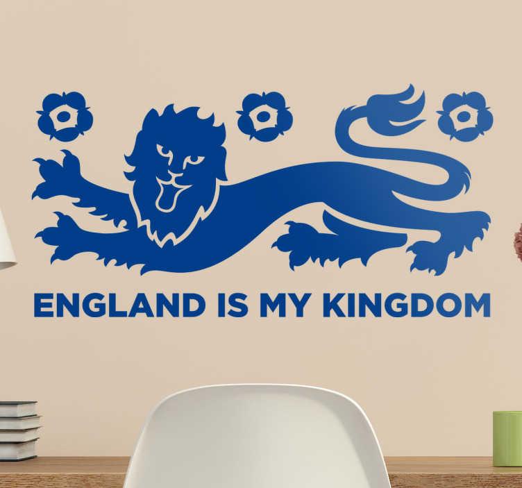 """TenVinilo. Vinilo bandera de Inglaterra reino. Vinilos murales para amantes de la cultura británica con representación de un león rampante y el texto """"England is my kingdom"""""""