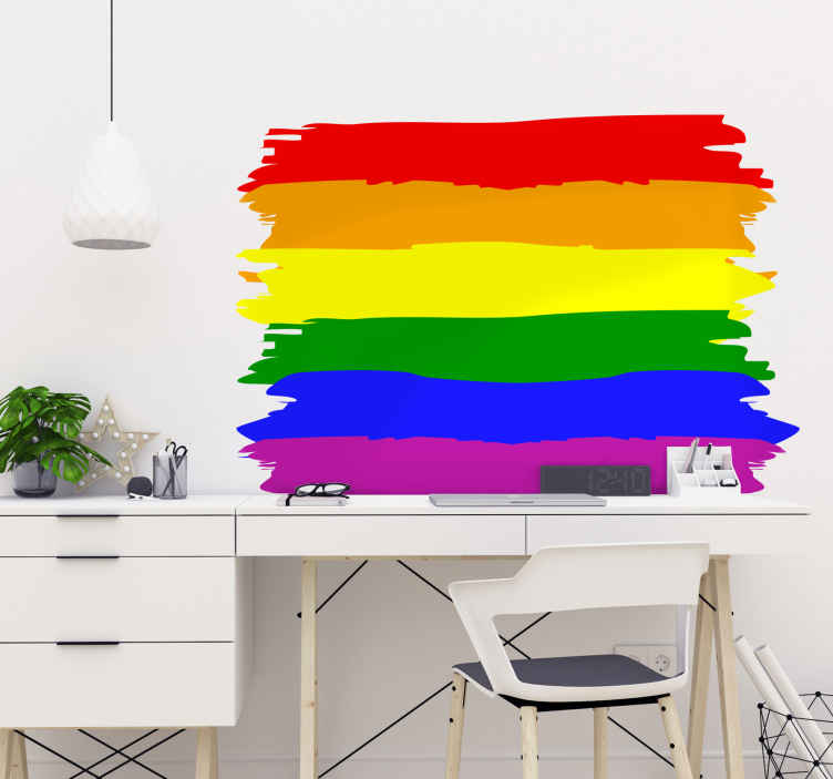 TenStickers. Sticker verf regenboog vlag Gay. Sticker met een in een verf stijl ontworpen regenboog vlag wat symbool staat voor de steun aan de Gay community.