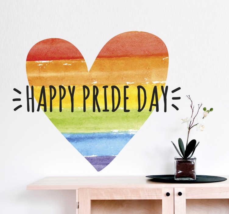 """TenStickers. Naklejka z rysunkiem Happy Pride Day. Naklejka przedstawiająca serce w barwach ruchu LGBT oraz napis """"Happy pride Day"""", idealna do dekoracji każdej płaskiej powierzchni."""