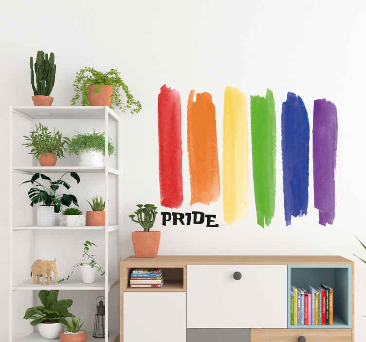 TenStickers. Muursticker waterverf regenboog Pride. Muursticker met een vlag van een regenboog ontworpen in een waterverf stijl met daarnaast het woord Pride.
