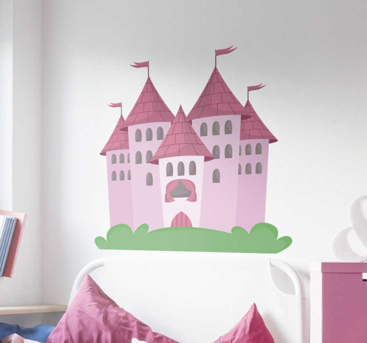 TenStickers. Wandtattoo Schloss Mädchen. Dieses Wandtattoo für Kinderzimmer zeigt ein schönes Schloss in leichten rosa Tönen mit einem kleinen Stück grünen Rasen.