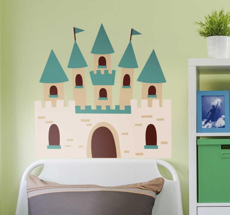 TenStickers. Sticker kinderen blauw sprookjes kasteel. Sticker speciaal ontworpen voor kinderen met een mooi blauw sprookjes kasteel, compleet met torens, vlaggen en een grote poort.