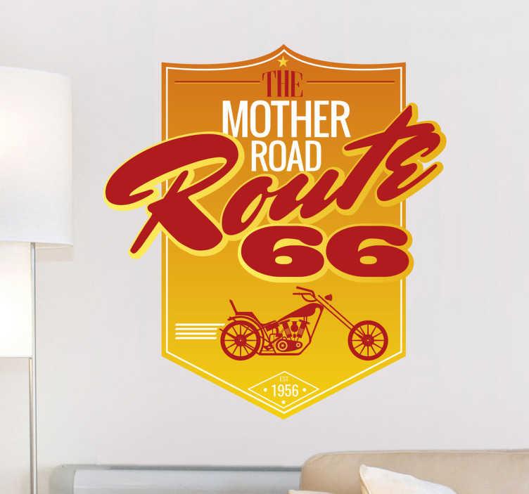 """TenVinilo. Vinilo cartel retro Ruta 66. Adhesivos Ruta 66 con escudo en tonos naranjas y amarillos que recoge el mítico nombre de la """"carretera madre"""" junto a un dibujo de una moto."""