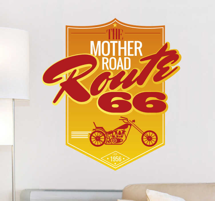 Vinilo cartel retro Ruta 66